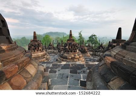 Borobudur Temple Stupa Jogjakarta, Indonesia. - stock photo