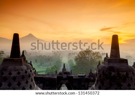 Borobudur Temple, Yogyakarta, Java, Indonesia. - stock photo