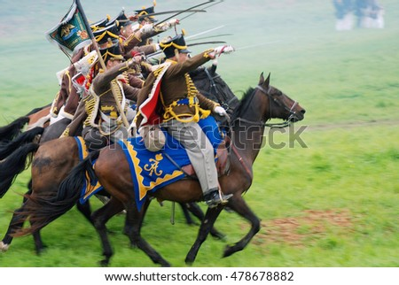BORODINO, MOSCOW REGION - SEPTEMBER 04, 2016: Reenactors dressed as Napoleonic war soldiers at Borodino battle historical reenactment in Russia. Color photo.