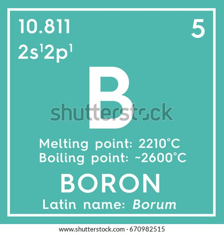 boron chemical element of mendeleevs periodic table boron in square cube creative concept