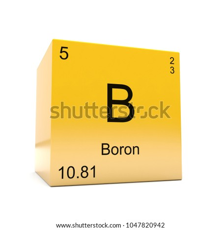 Boron chemical element symbol periodic table stock illustration boron chemical element symbol from the periodic table displayed on glossy yellow cube 3d render urtaz Choice Image