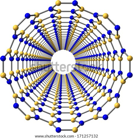 Boron nitride nanotube on white - stock photo