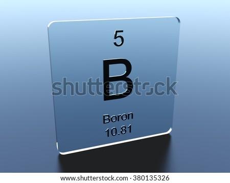 Boron symbol on a glass square - stock photo