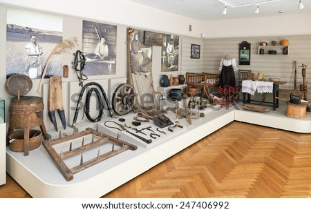 BOROVICHI, RUSSIA - AUGUST 09, 2012: The interior of one of the halls of the Museum of Local History - stock photo