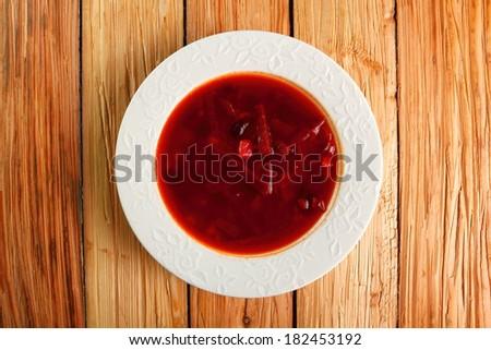 Borsch (Borscht). Beet Soup with beans. Directly Above. - stock photo