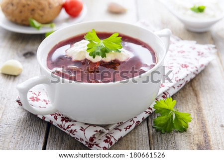 Borsch - Russian cabbage soup with beetroot