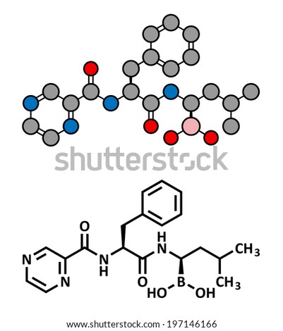 Bortezomib cancer drug (proteasome inhibitor), chemical structure. Conventional skeletal formula and stylized representation, showing atoms (except hydrogen) as color coded circles. - stock photo