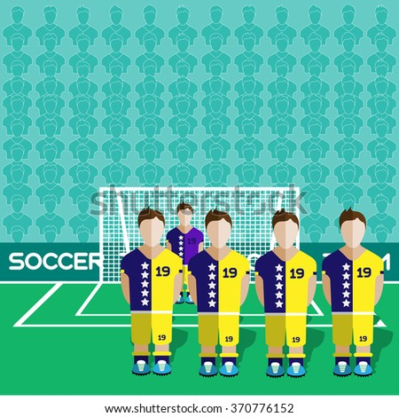 Bosnia and Herzegovina Football Club Soccer Players Silhouettes. Computer game Soccer team players big set. Sports infographic. Football Teams in Flat Style. Goalkeeper Standing in a Goal. - stock photo