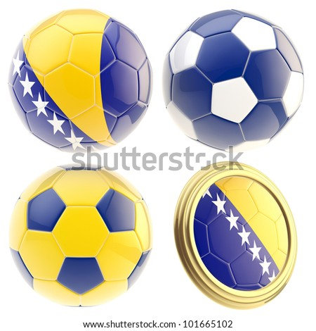 Bosnia and Herzegovina football team set of four soccer ball attributes isolated on white - stock photo