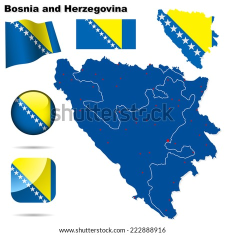 Bosnia and Herzegovina set. Detailed country shape with region borders, flags and icons isolated on white background. - stock photo