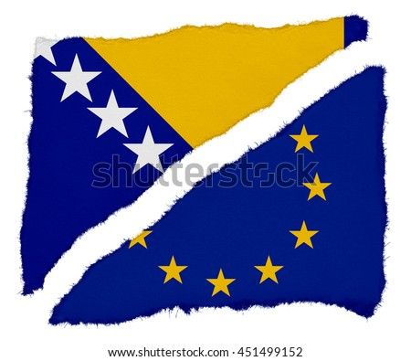 Bosnia Herzegovina and EU Flag Torn Paper Scraps Isolated on White Background