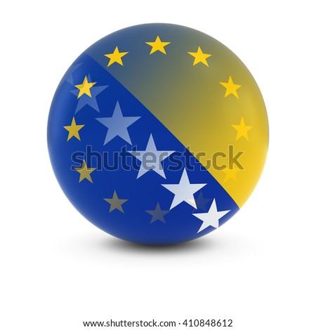 Bosnian Herzegovinian and European Flag Ball - Fading Flags of Bosnia Herzegovina and the EU - stock photo