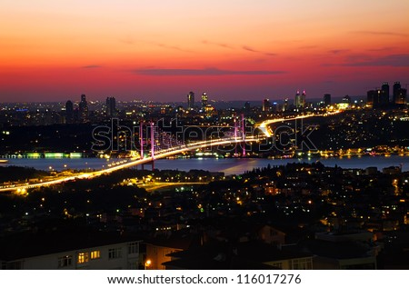 Bosphorus bridge, night view