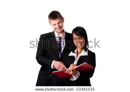 Boss and his secretary - stock photo
