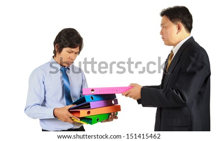 Boss Give Too Much Work To Employee - stock photo