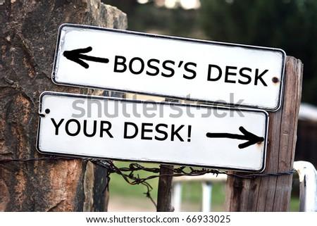 Boss's desk vs. your desk in outdoors - stock photo