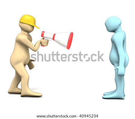 Boss's rage illustration isolated in white - stock photo