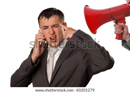 boss shouting at his manager - stock photo