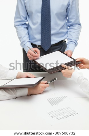 Boss signing a document, white background