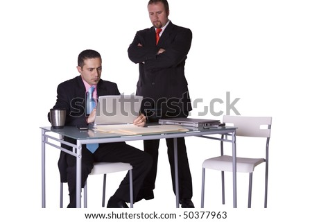 Boss Watching Over his Employee's Shoulder - Concept - Isolated Shot - stock photo