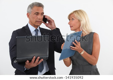 Boss with secretary - stock photo