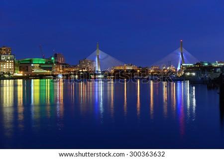 BOSTON - APR 14: Boston TD Banknorth Garden arena and Zakim Bunker Hill Bridge, viewed from Charlestown on April 14th, 2015 in Boston, Massachusetts, USA. - stock photo
