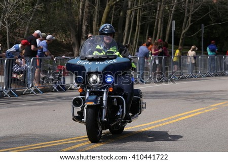 BOSTON - APRIL 18: There was a heavy police pressence during the the Boston Marathon April 18, 2016 in Boston.