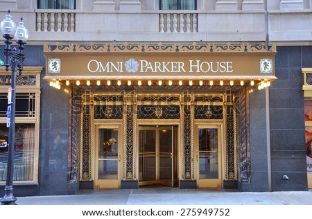 BOSTON - AUG 12: The facade of Omni Parker House on August 12, 2013 in Boston, Massachusetts, USA.  - stock photo