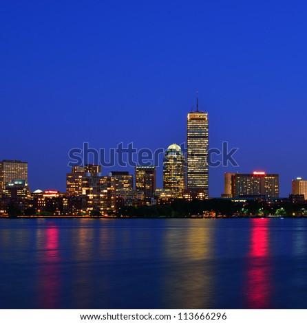 Boston Back Bay skyline at night - stock photo