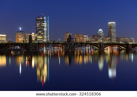 Boston Back Bay Skyline John Hancock Tower and Prudential Center night scenes, viewed from Cambridge, Boston, Massachusetts, USA