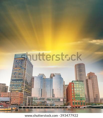 Boston buildings at sunset, Massachusetts - stock photo