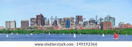 Boston Charles River panorama with urban skyline skyscrapers and sailing boat. - stock photo