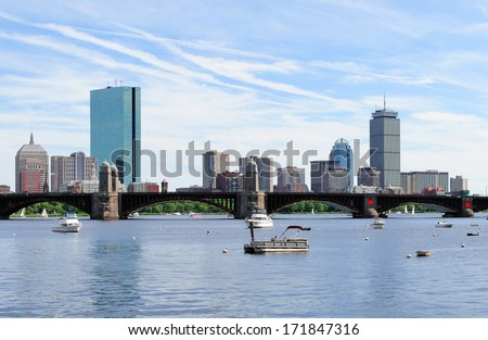 Boston Charles River with urban city skyline skyscrapers and boats with blue skyr.