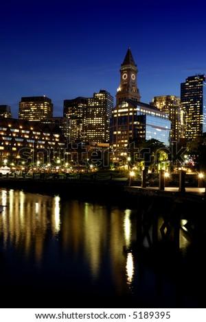 Boston Christopher Columbus Park at night - stock photo