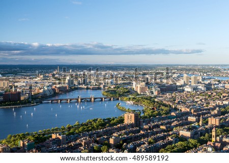 Boston city aerial view, USA