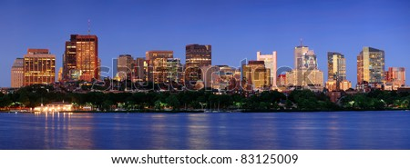 Boston city Charles River at dusk with urban skyline and skyscrapers. - stock photo