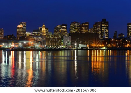 Boston City Skyscrapers, Custom House and Boston Waterfront at night from East Boston, Boston, Massachusetts, USA