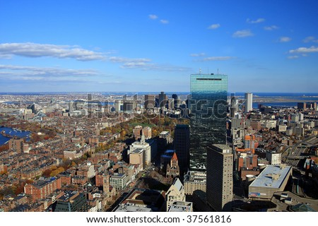 boston cityscape, aerial view of the Cambridge university, Boston in the autumn, panorama of the Cambrige University in Boston, Boston's Prudential Building - stock photo