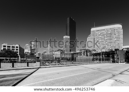 Boston cityscape in black and white colors, view from bridge above highway 90, near Arlington street, on commercial buildings in Back Bay East district