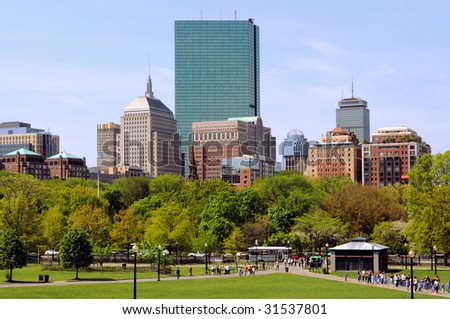 Boston cityscape in the spring, from the Common, in Beacon Hill. View of Back Bay commercial district, office buildings and residential apartments.