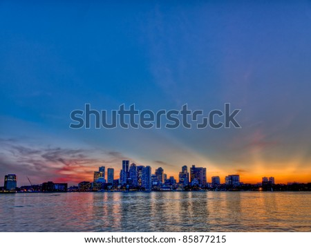 Boston cityscape skyline at sunset