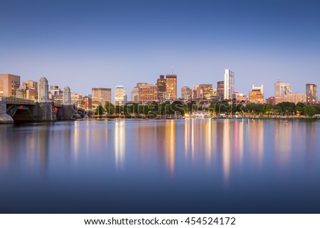 Boston downtown at sunset in Massachusetts, USA with its famous mix of modern and historic architecture.