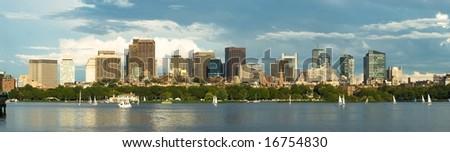 Boston downtown panorama - stock photo