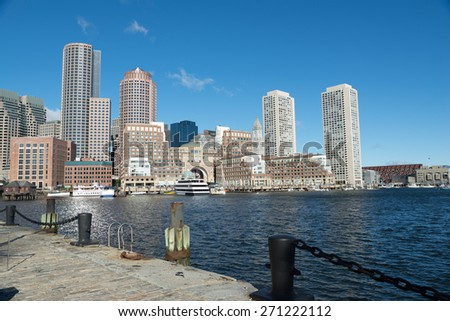 Boston downtown skyscrapers in skyline city view in early morning. - stock photo