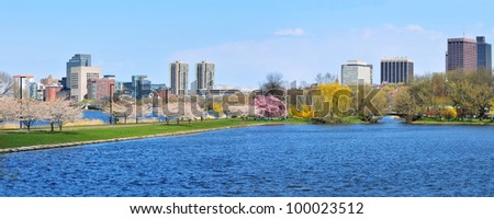 Boston Esplanade in the Spring - stock photo