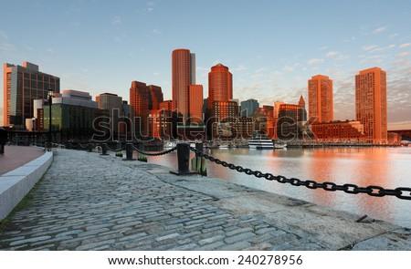 Boston Financial District at Sunrise, Boston, Massachusetts - stock photo