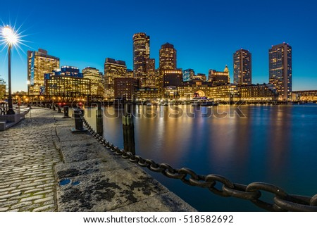 Boston Financial District during Blue Hour
