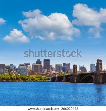 Boston from Longfellow Bridge in Massachusetts USA - stock photo