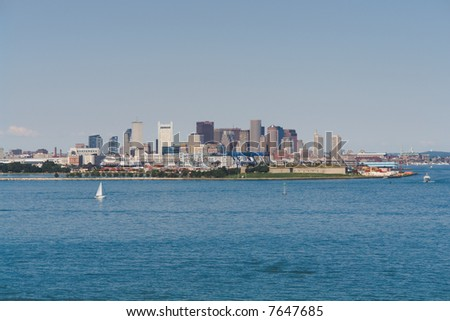 Boston from the Inner Harbor in landscape orientation - stock photo