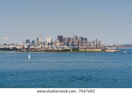 Boston from the Inner Harbor in landscape orientation - stock photo